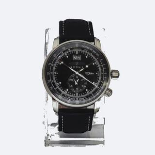 ツェッペリン(ZEPPELIN)のZEPPELIN クォーツ式腕時計メンズ ブラック文字盤【新品同様】(腕時計(アナログ))