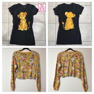 ディズニー(Disney)の【希少!!!!!】黒 シンバ 丈長 Tシャツ(Tシャツ(半袖/袖なし))