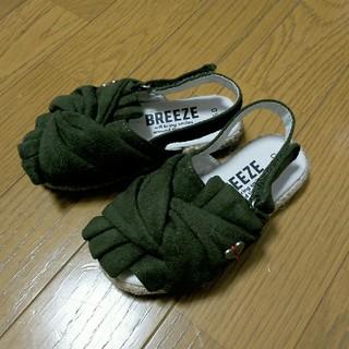 BREEZE - 《ブリーズ/BREEZE》リボンサンダル/カーキ★15センチ