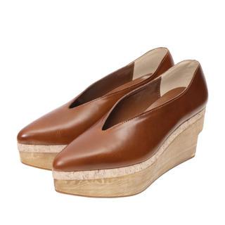 アメリヴィンテージ(Ameri VINTAGE)の定価以下!Ameri VINTAGE ウッドプラットフォームパンプス アメリ(ローファー/革靴)