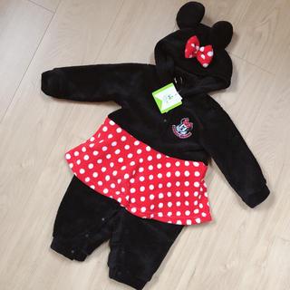 ディズニー(Disney)の【新品・タグ付】サイズ80*ディズニー ミニー なりきり もこもこ ロンパース (ロンパース)
