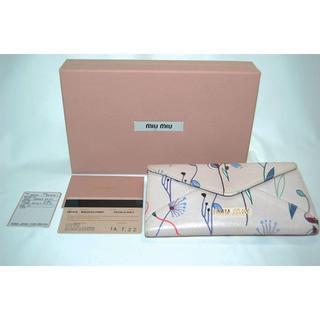 ミュウミュウ(miumiu)のミュウミュウ 5M1416 フラワー柄 レザー 二つ折り長財布(ピンク)(財布)