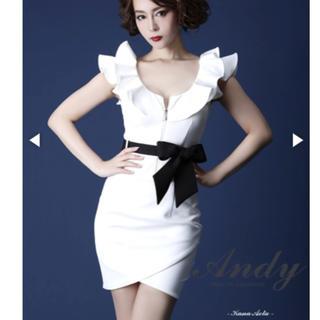 アンディ(Andy)のANDY 白ドレス 黒リボン付き(ミニドレス)