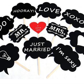 フォトプロップス11点セット 結婚式 二次会 誕生日 写真 小道具(フォトプロップス)