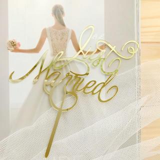 ✴︎送料無料✴︎ケーキトッパー⁑Just Married⁑(ウェディングドレス)