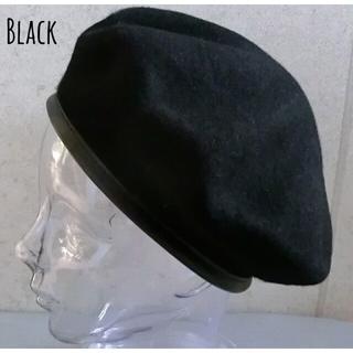 送料込 新品 ベレー帽 パイピング フェルト ベレー ウール バスク 上質 BK(ハンチング/ベレー帽)