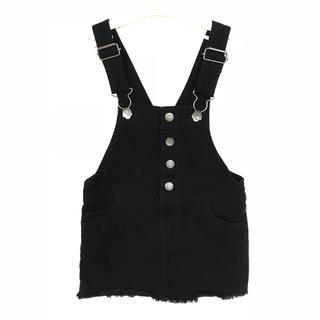エイチアンドエム(H&M)のH&M 黒 デニム ジャンパースカート(ワンピース)