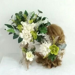 1点のみ  ☆結婚式3点セット  ウェディングブーケ+髪飾り+ブートニア(ブーケ)