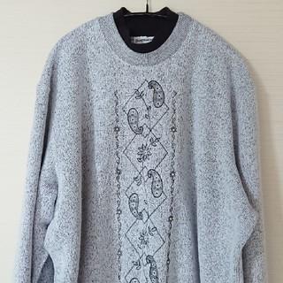 ☆US古着編み襟つき刺繍スウェットXL(スウェット)