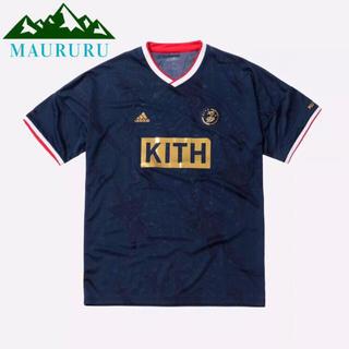 夏物セール‼️ KITH×adidas サッカー コブラスTシャツ ネイビー(Tシャツ/カットソー(半袖/袖なし))