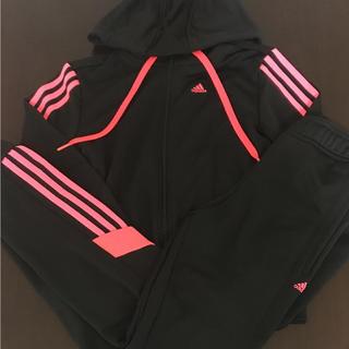 Mサイズ adidas レディース ジャージ上下セット ブラック×蛍光ピンク