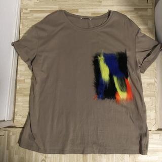 ZARA - ZARA ファーポケット Tシャツ カーキ