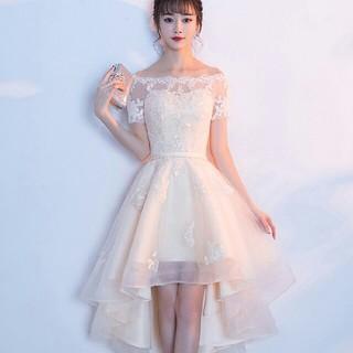 ドレス 結婚式 披露宴 レース 膝丈ドレス 肩出しパーティードレス コンサート