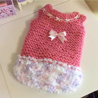 手編みの可愛いペット服Sサイズ