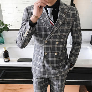 灰色 メンズスーツ 2点セット 即購入ok 送料込み 大人気 スリム 結婚式(スーツジャケット)