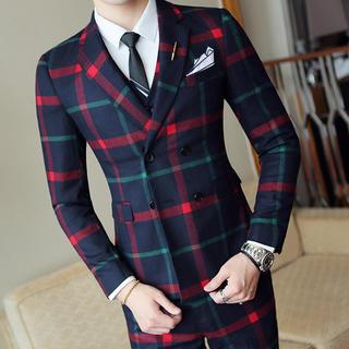 メンズスーツ 3点セット スリム 結婚式 司会者 大人気 即購入ok(セットアップ)