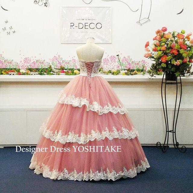 ウエディングドレス(パニエ無料) 渋ピンクレースたっぷり 披露宴/二次会 レディースのフォーマル/ドレス(ウェディングドレス)の商品写真