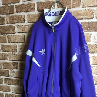 アディダス(adidas)のポップカラー! 90s adidas ジャージ トラックトップ ロゴ 紫 白(ジャージ)