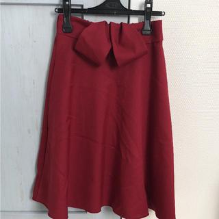 しまむら - 【新品】ミラクルクローゼット 日本製 ひざ丈 リボンスカート M