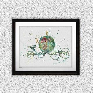 ディズニー(Disney)の日本未発売!シンデレラの馬車・アートポスター【額縁付き・送料無料!】(ポスター)