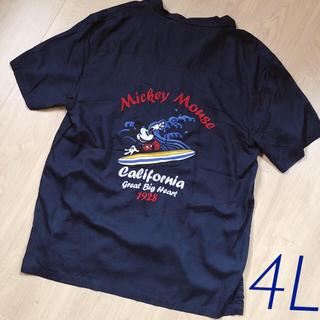 ディズニー(Disney)の【新品・タグ付】サイズ4L*ディズニー ミッキー 刺繍 アロハシャツ  Tシャツ(シャツ)
