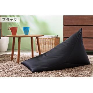 ビーズクッション 三角クッション 国産 日本製 背もたれ 座イス ブラック(その他)