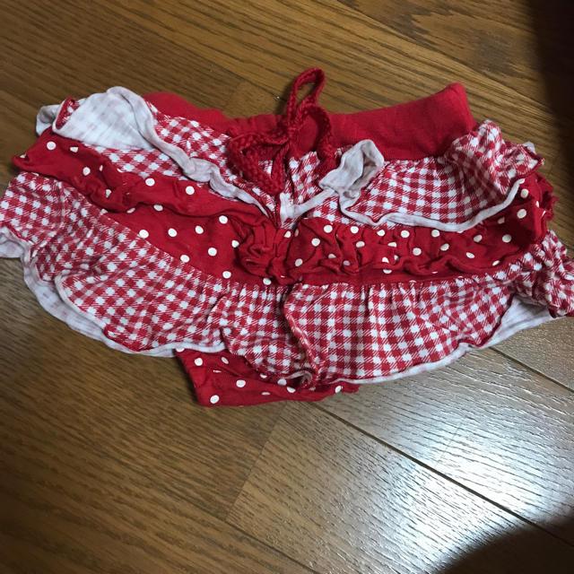 しまむら(シマムラ)の赤 スカート パンツ キッズ/ベビー/マタニティのベビー服(~85cm)(スカート)の商品写真