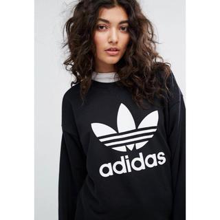 アディダス(adidas)の【Lサイズ】新品タグ付き ロゴ トレーナー アディダス 黒 ブラック(トレーナー/スウェット)
