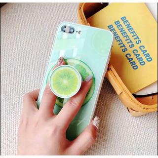 アイフォーン(iPhone)のセール 可愛いライム&スイカ強化ガラス iphoneケース リング付き (iPhoneケース)