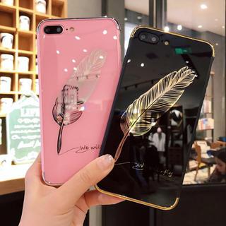 アイフォーン(iPhone)の★新作 光沢 羽デザイン iphoneケース 黒/ピンク(iPhoneケース)