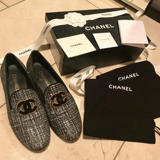 シャネル(CHANEL)のシャネル ローファー chanel フラット 黒 エスパドリーユ 38 靴 美品(ローファー/革靴)