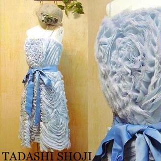 TADASHI SHOJI - 美品 TADASHI SHOJI チュールドレス ワンピース ライトブルー 2