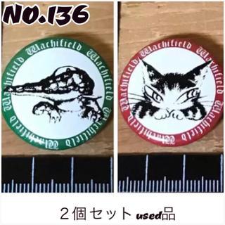 出品 NO.136 バッジ  ワニ  猫  缶バッジ 2個 セット used品
