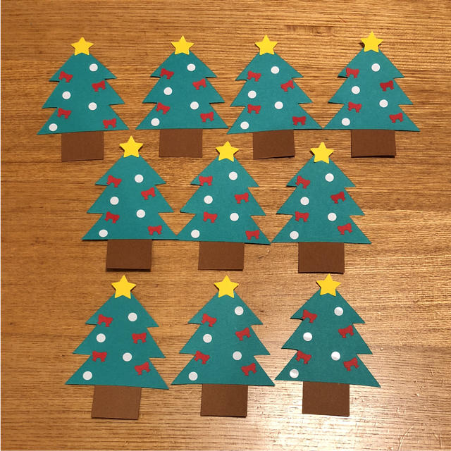 【ミニクリスマスツリー10枚】メッセージカード 壁面飾り
