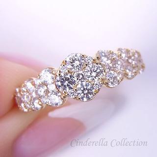 K18YG天然ダイヤモンド総1ct★職人さんも欲しがるブリリアンスリング(リング(指輪))