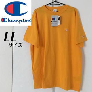 チャンピオン(Champion)の新品★Champion ロゴ刺繍 Tシャツ 黄色 メンズ LLサイズ(Tシャツ/カットソー(半袖/袖なし))