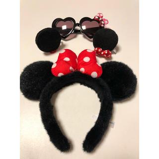 ディズニー(Disney)のミニーちゃん ミニーカチューシャ 耳 サングラス セット(カチューシャ)