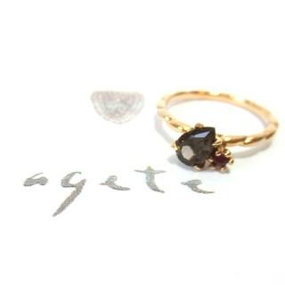 アガット(agete)のアガット スモーキークォーツとガーネットのK10リング 5号(リング(指輪))
