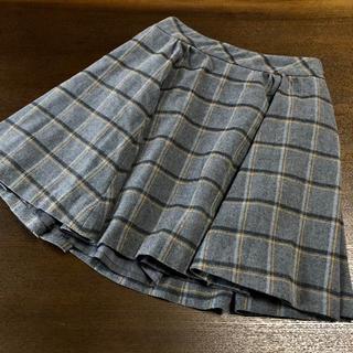 パウダーシュガー(POWDER SUGAR)のスカート グレー 黄色 イエロー チェック パウダーシュガー 灰色(ひざ丈スカート)