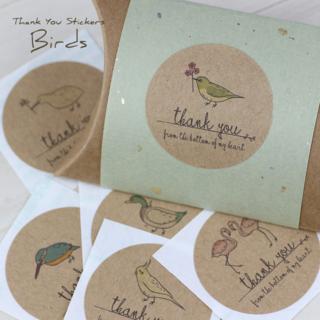 【48枚】選べるサンキューシール 鳥(インコ、カモなど) 円形 カラー CC06