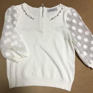 リランドチュール(Rirandture)の秋冬☆リランドチュール☆胸元ビジューとお袖がかわいいニット☆ホワイト(ニット/セーター)