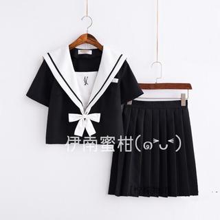 【D】コスプレ制服★セーラー服(上下セット)半袖(セット/コーデ)