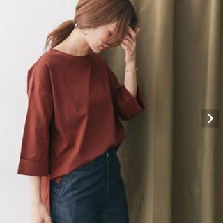 ドアーズ(DOORS / URBAN RESEARCH)の新品タグ付 シルケットスムースワイドTシャツ レッドブラウン (Tシャツ(長袖/七分))