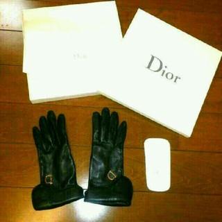 クリスチャンディオール(Christian Dior)の☆美品☆クリスチャン・ディオール☆レザー手袋☆グローブ☆ロゴ☆(手袋)