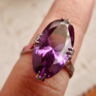 昭和レトロな合成サファイアのシルバーリング指輪(リング(指輪))
