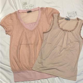 シマムラ(しまむら)のキラキララメ入!トップスM L 2枚目セット 新品未使用(Tシャツ(半袖/袖なし))