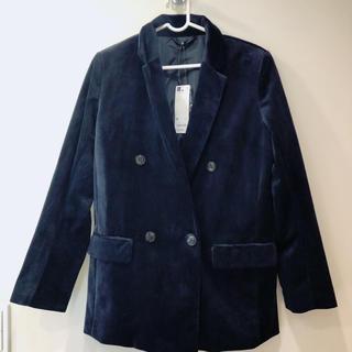 ジーユー(GU)の新品 タグ付き GU ジャケット ベロア ネイビー コート ブランド 秋冬 韓国(テーラードジャケット)