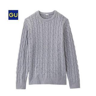 ジーユー(GU)のメンズ ケーブルニット 長袖 グレー Mサイズ(ニット/セーター)