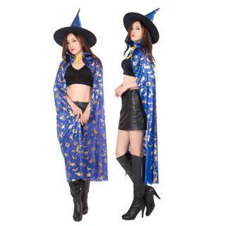 魔女 コスプレ マント ハロウィン <青 ブルー>(衣装)