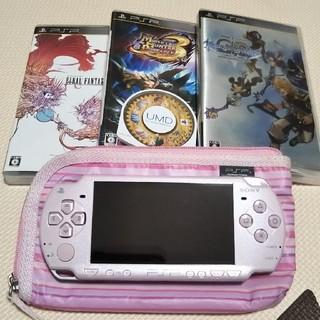 プレイステーションポータブル(PlayStation Portable)のPSP メタリックピンク set(携帯用ゲーム本体)